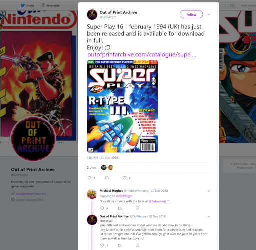 2019-01-29 22_50_08-Out of Print Archive on Twitter_ _Super Play 16 - february 1994 (UK) has just be.png