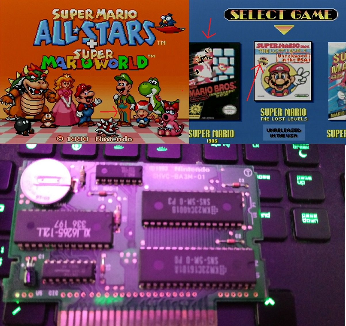 Super Mario All Star + Mario World corrupted Cartridge