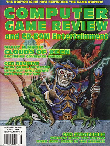 Computer Game Review and CD-ROM Entertainment Volume 2 Issue 01 (August 1992)