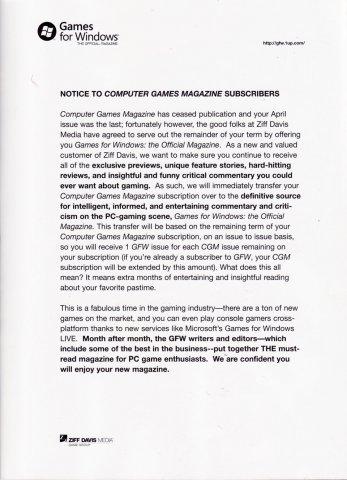 Computer Games Magazine cancelation notice