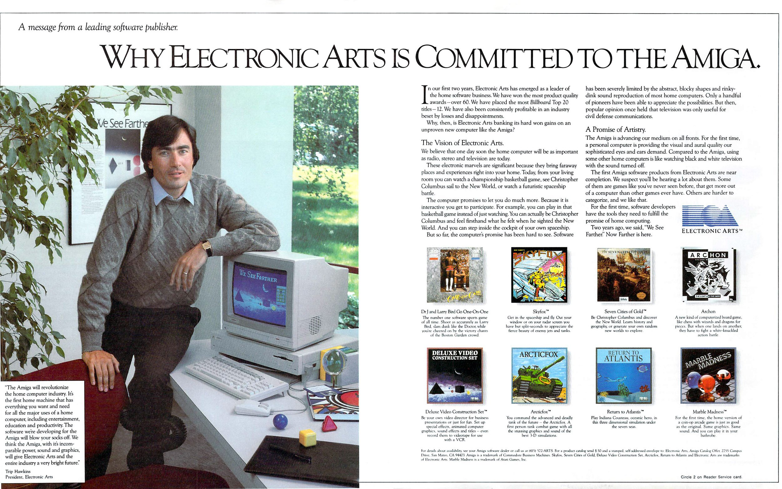 Electronic Arts 1985 (Dr.J and Larry Bird Go One-On-One, Skyfox, Seven Cities of Gold, Archon, Arctic Fox, Return To Atlantis, Marble Madness)