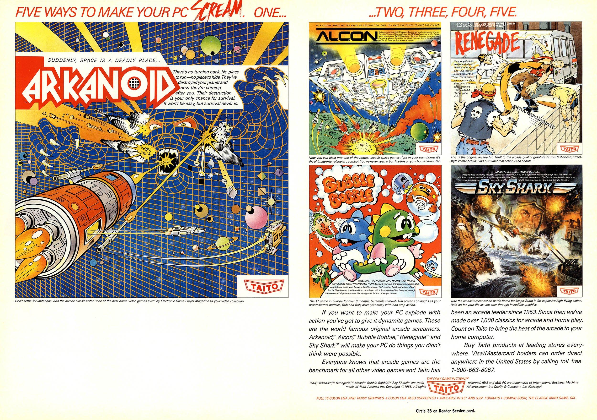 Arkanoid, Acon, Renegade, Bubble Bobble, Sky Shark