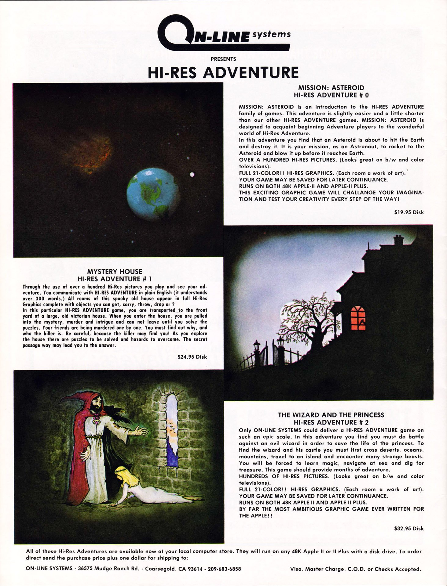 Hi-Res Adventure - Mission: Asteroid, Mystery House, The Wizard and the Princess