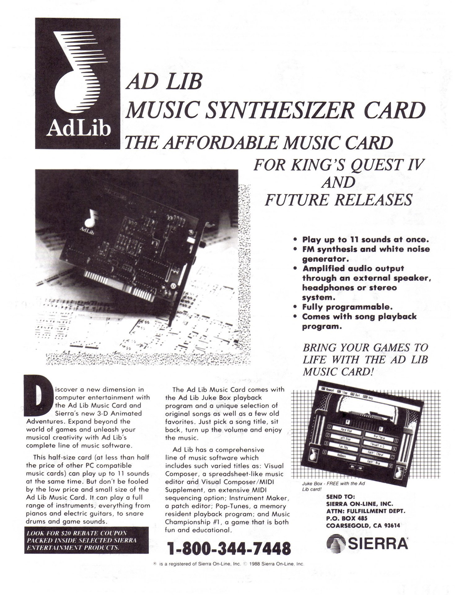 Ad Lib sound card (Sierra rebate)