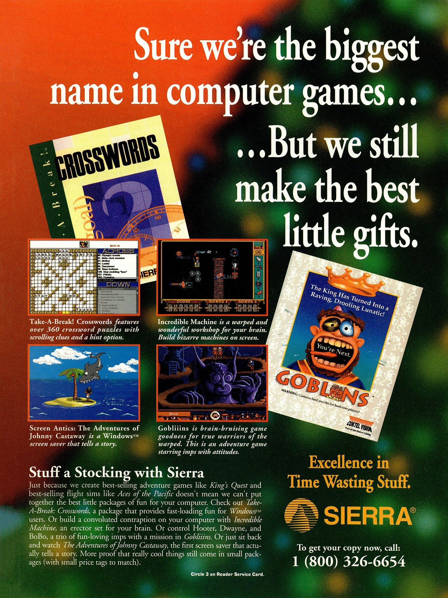 Gobliiins, Take-A-Break! Crosswords, Incredible Machine, Screen Antics The Adventures of Johnny Castaway