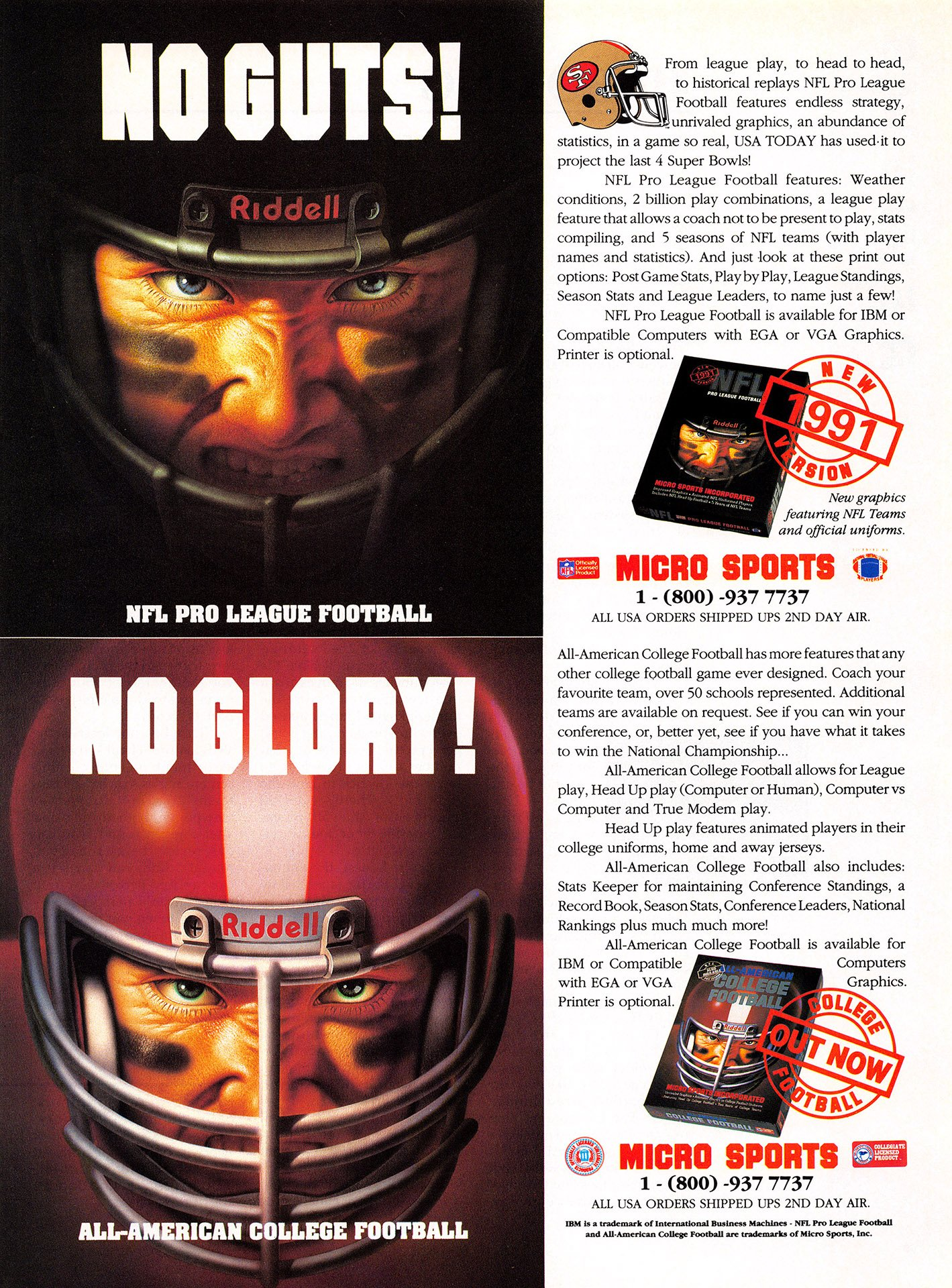 NFL Pro League Football (1991 version), All-American College Football
