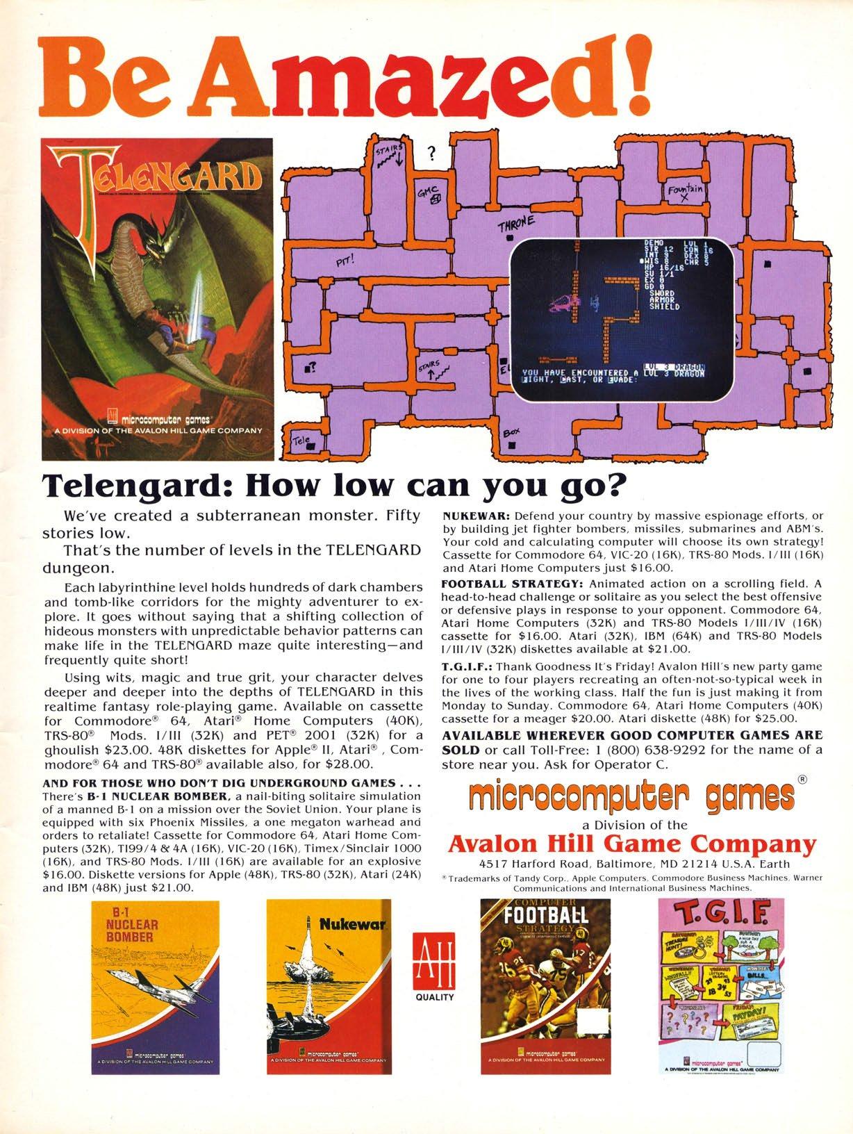 Telengard, B1 Nuclear Bomber, Nukewar, Football Strategy, T.G.I.F.