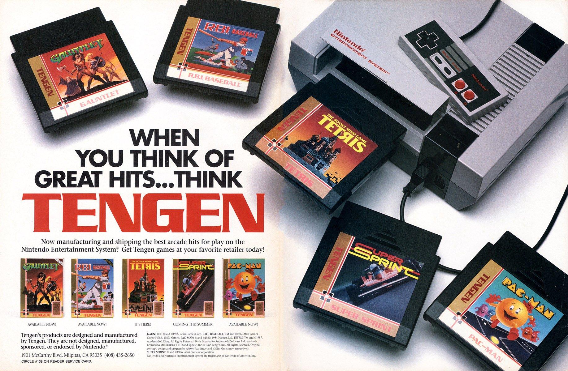 Tengen multi-ad (Gauntlet, RBI Baseball, Tetris, Super Sprint, Pac-Man)