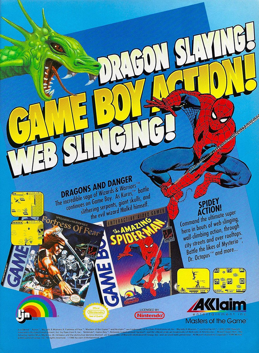Acclaim Ljn Multi Ad Wizards And Warriors X And The Amazing Spider Man 1990 Nintendo Game Boy Retromags Community