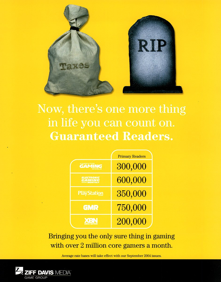 Ziff Davis Media marketing insert with circulation data for its magazines in 2004