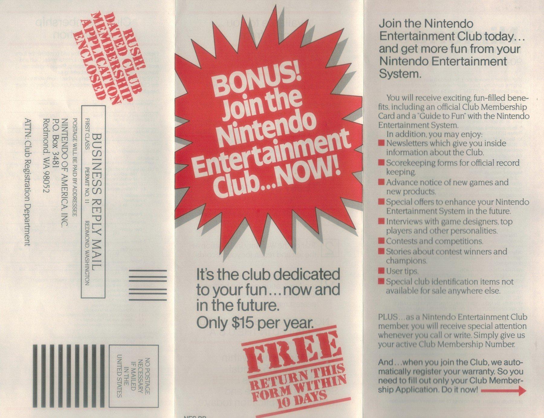 Nintendo Fun Club Send Away Form Back
