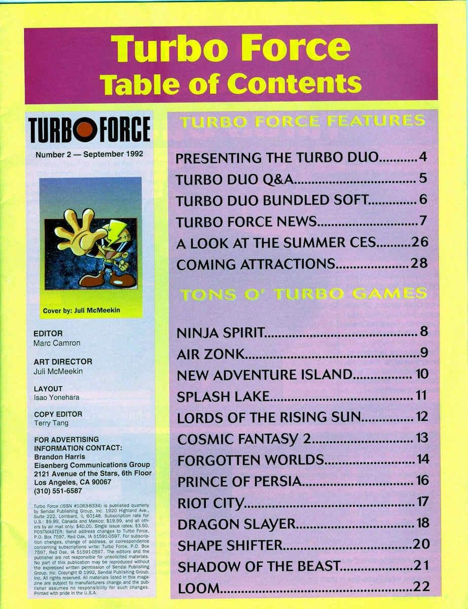 Turbo Force Issue 02 Contents