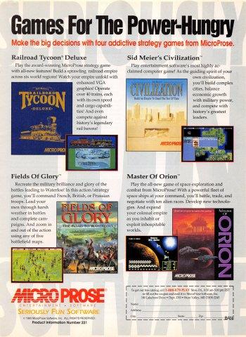 Railroad Tycoon Deluxe, Sid Meier's Civilization, Fields of Glory, Master of Orion