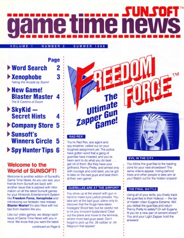 Sunsoft Game Time News 02 Summer 1988