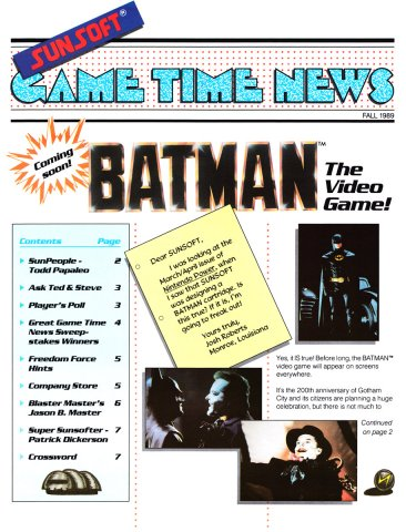Sunsoft Game Time News 04 Fall 1989