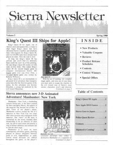 Sierra Newsletter Vol.1 No.3 Spring 1988