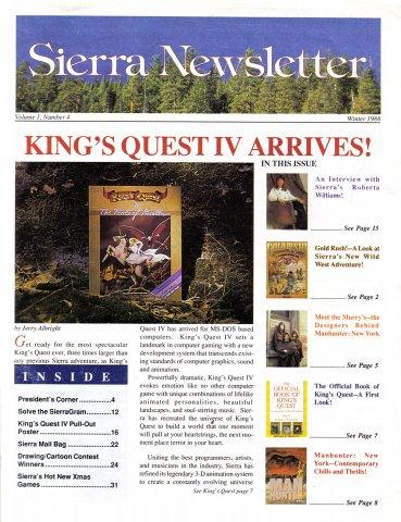 Sierra Newsletter Vol.1 No.4 Winter 1988