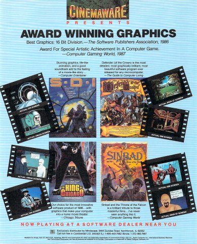 Cinemaware (The King of Chicago, S.D.I., Defender of the Crown, Sinbad and the Throne of the Falcon) (b)