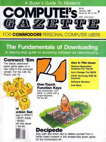 Compute's Gazette Issue 043 Vol. 05 No. 01 January 1987