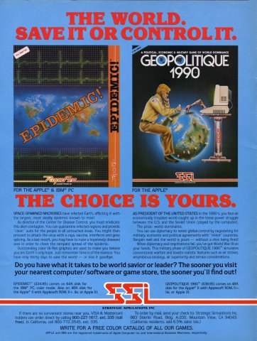 Epidemic!, Geopolitique 1990