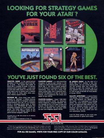 Objective Kursk, Reforger '88, Computer Ambush, Computer Baseball, 50 Mission Crush, Galactic Adventures