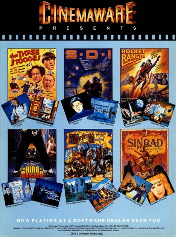 Cinemaware (The Three Stooges, SDI, Rocket Ranger, The King of Chicago, Defender of the Crown, Sinbad and the Throne of the Falcon).jpg