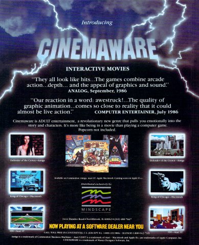 Cinemaware (Defender of the Crown, King of Chicago, SDI)
