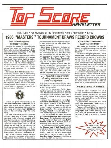 Top Score Fall 1986