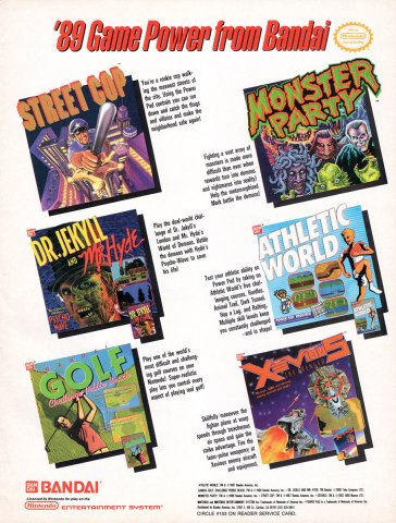 Bandai multi-ad (Street Cop, Monster Party, Dr. Jekyll and Mr. Hyde, Athletic World, Bandai Golf Challenge Pebble Beach, Xevious)