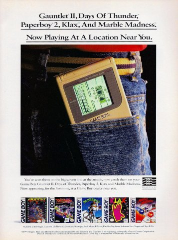 Mindscape multi Ad (Gauntlet II, Days Of Thunder, Paperboy 2, Klax, Marble Madness)