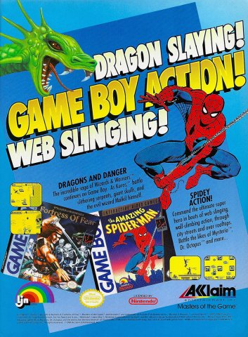 Acclaim/LJN multi-ad: Wizards and Warriors X and The Amazing Spider-Man (1990)
