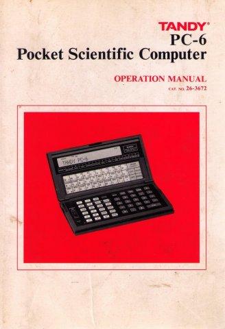 Tandy PC-6 Pocket Scientific Computer Operation Manual