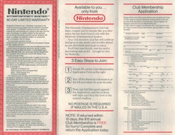 Nintendo Fun Club Send Away Form Front