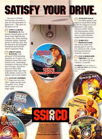 SSI on CD (Tony La Russa Baseball II, Great Naval Battles, Fantasy Empires, Dungeon Hack, Dark Sun Shattered Lands, Eye of the Beholder Trilogy)