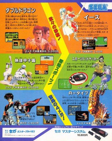 Double Dragon, Ys, Nekkyuu Koushien, Sports Pad Soccer, Kujaku Ou, R-Type (Japan)
