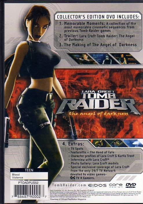 Tomb Raider: The Angel of Darkness Collector's Edition DVD (DVD) (Rear)