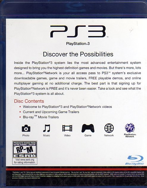 PlayStation 3 Welcome Disc (Blu-Ray) (Rear)