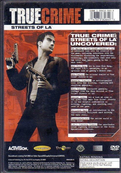 True Crime: Streets of LA Uncovered (DVD) (Rear)