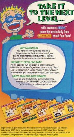 Lunchables Sega Game Tips Video (VHS) (Rear)