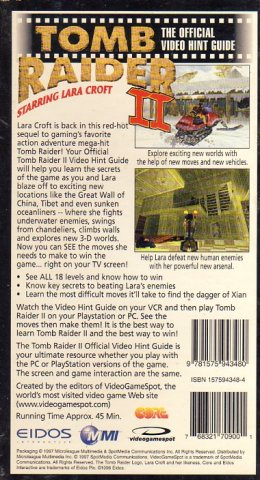 Tomb Raider II Official Video Hint Guide (VHS) (Rear)