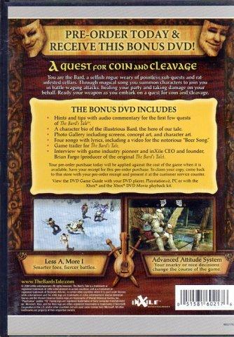 Bard's Tale Preorder Bonus DVD (DVD) (Rear)
