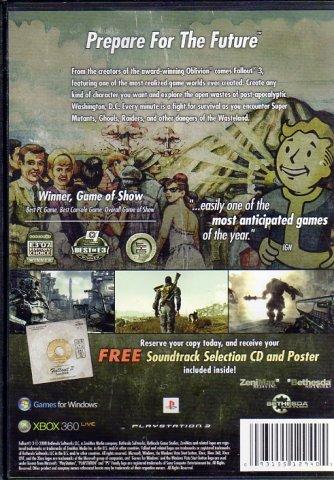 Fallout 3 Pre-Order Bonus Soundtrack + Poster (CD) (Rear)