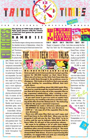 Taito Times Volume 1 Issue 1 (Fall 1989)