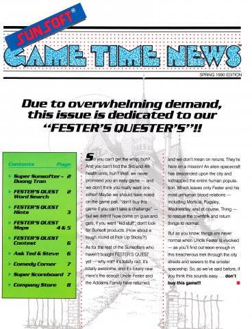 Sunsoft Game Time News Issue 6 (Spring 1990)