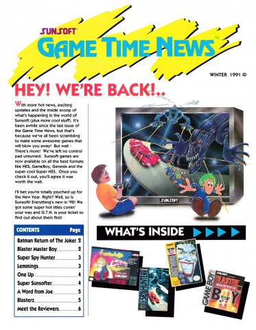 Sunsoft Game Time News Issue 8 (Winter 1991)
