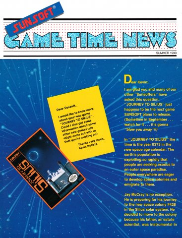 Sunsoft Game Time News Issue 7 (Summer 1990)